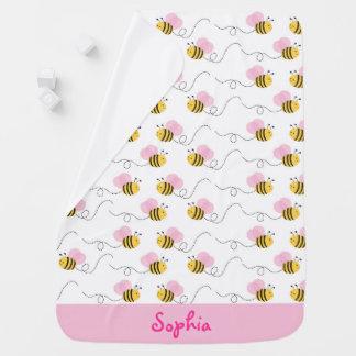 El rosa lindo manosea la abeja mantita para bebé