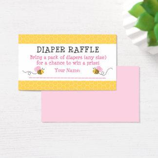 El rosa manosea boletos de la rifa del pañal de la tarjeta de visita