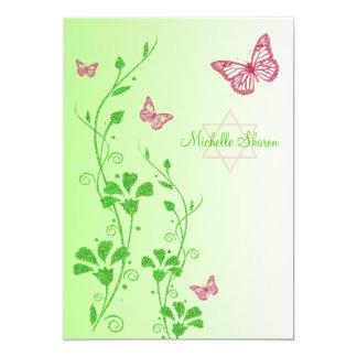 El rosa, palo floral Mitzvah de Buttterflies del Invitación 12,7 X 17,8 Cm