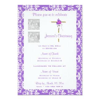 El rosa púrpura del bautizo PERSONALIZA el damasco Invitación 12,7 X 17,8 Cm
