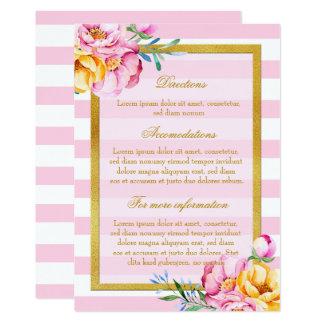 El rosa raya direcciones del boda de la flor del invitación 12,7 x 17,8 cm