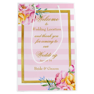 El rosa raya el boda de la flor del marco del oro bolsa de regalo mediana