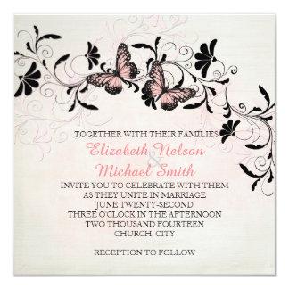 El rosa remolina mariposa que el boda romántico invitación 13,3 cm x 13,3cm