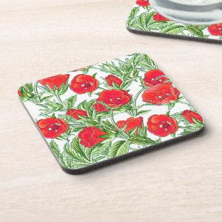 El rosa rojo botánico florece el práctico de costa posavasos