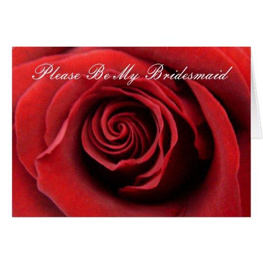 El rosa rojo sea por favor mi dama de honor tarjeta de felicitación