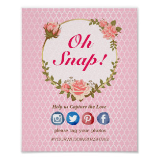 El rosa rosado adornó oh el poster rápido del boda póster