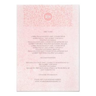 El rosa se ruboriza los detalles florales del boda invitación 11,4 x 15,8 cm
