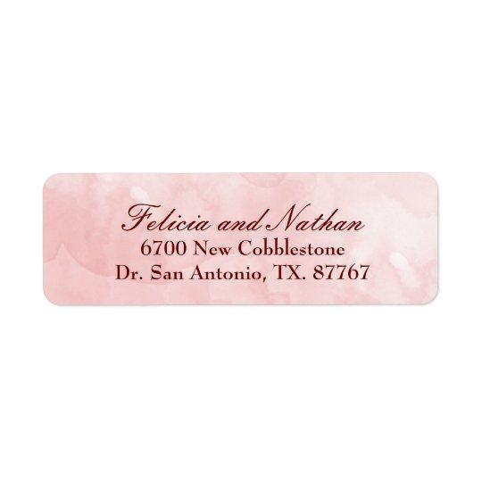 El rosa se ruboriza personalizado del boda de la etiqueta de remitente