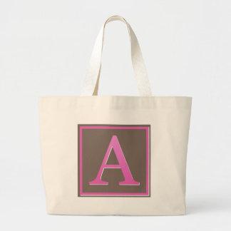 El rosa y Brown ponen letras a un monograma Bolsa Tela Grande