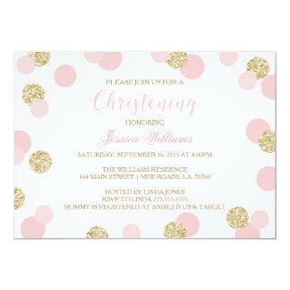 El rosa y el bautizo del brillo del oro invita invitación 12,7 x 17,8 cm