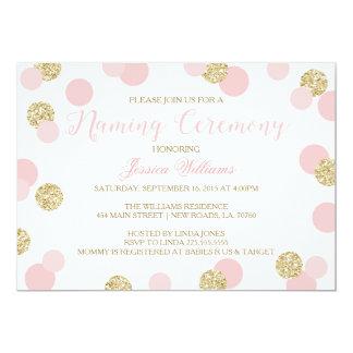 El rosa y el brillo del oro que nombra ceremonia invitación 12,7 x 17,8 cm