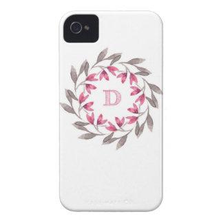 El rosa y la guirnalda floral gris diseñan D Carcasa Para iPhone 4 De Case-Mate