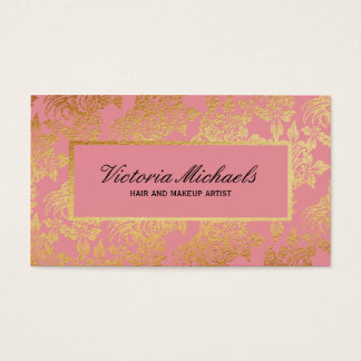 El rosa y la hoja de oro miran tarjetas de visita