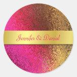 El rosa y la hoja de oro tienen gusto de casar el etiqueta redonda