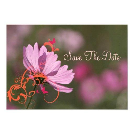 El rosa y los remolinos florales de la mandarina invitacion personalizada