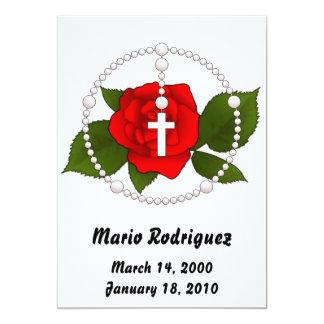 El rosario color de rosa invita invitación 12,7 x 17,8 cm