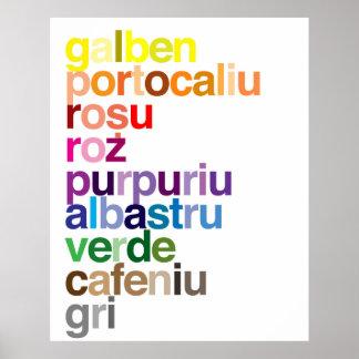 El rumano colorea el poster póster
