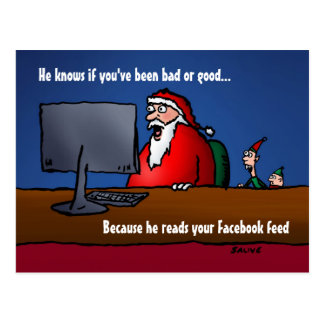 Él sabe si usted ha sido malas postales de Santa