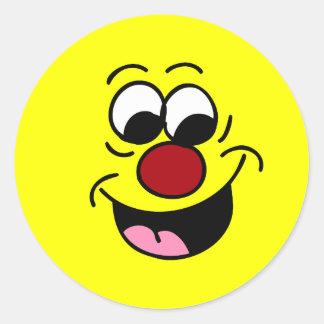 El sabelotodo jadea la cara sonriente Grumpey Etiqueta Redonda