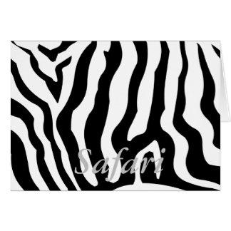 El safari, caballo de la cebra raya negro y blanco tarjeta de felicitación