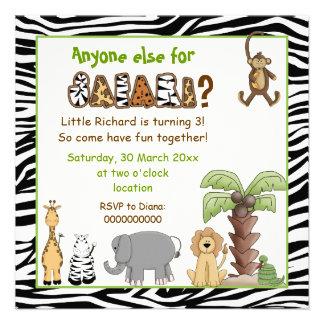 El safari de los animales de la selva embroma a la invitación personalizada