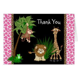El safari de selva de los chicas le agradece las tarjeta pequeña