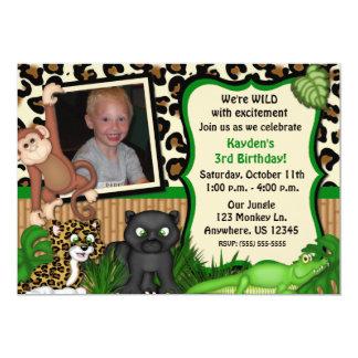 El safari de selva embroma la invitación del invitación 12,7 x 17,8 cm