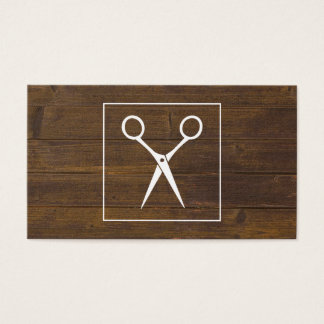 El salón esquila la tarjeta de madera rústica de