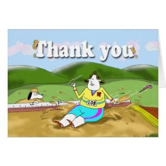 el salto de longitud divertido le agradece cardar tarjeta de felicitación