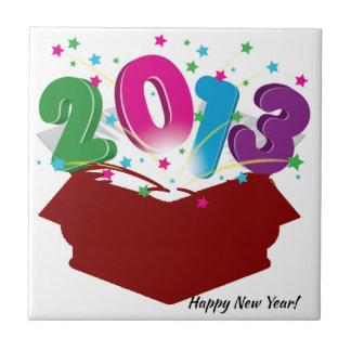 El saludo del Año Nuevo Azulejo Cuadrado Pequeño