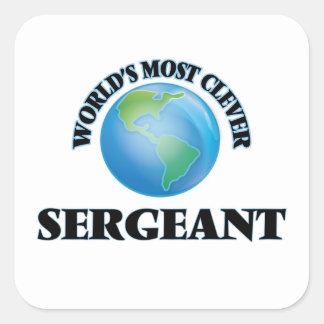 El sargento más listo del mundo calcomanía cuadrada personalizada