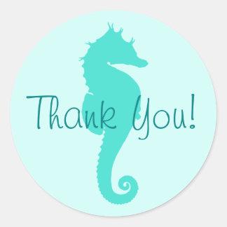 El Seahorse de la turquesa le agradece Pegatina Redonda