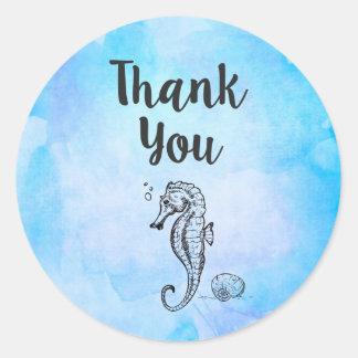 El Seahorse y el Seashell en acuarela azul le Pegatina Redonda