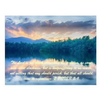 El señor no es flojo referente a su promesa, como tarjeta postal