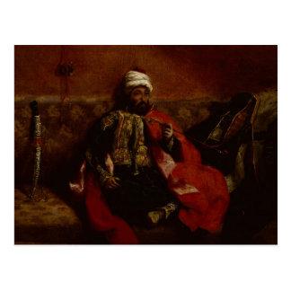 El sentarse que fuma del turco en un sofá, c.1825 postal