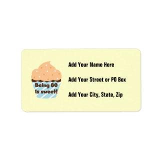 El ser 80 es camisetas y regalos dulces del cumple etiqueta de dirección