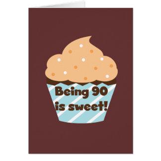 El ser 90 es camisetas y regalos dulces del cumple tarjeta pequeña