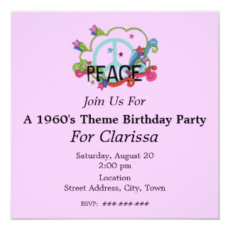 El signo de la paz abstracto protagoniza invitación 13,3 cm x 13,3cm