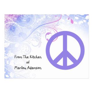 El signo de la paz púrpura florece tarjetas de la  tarjetas postales