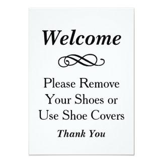 El signo positivo el | quita por favor los zapatos invitación 12,7 x 17,8 cm