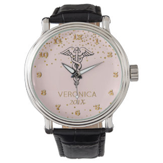 El símbolo del caduceo se ruboriza las enfermeras reloj de pulsera