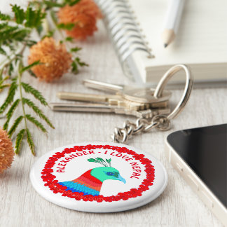 El símbolo del faisán de Nepal personalizó el amor Llavero Redondo Tipo Chapa