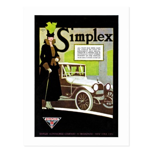 El simplex - anuncio del automóvil del vintage postal