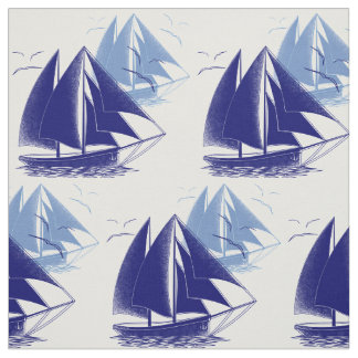 El sitio del muchacho azul del barco del vintage tela