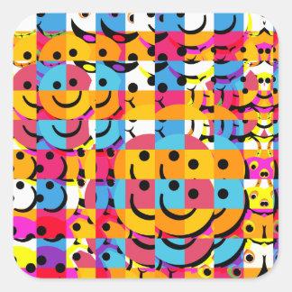 El smiley abstracto hace frente al collage calcomanía cuadradase