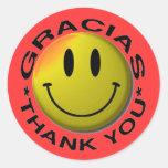 El smiley de Gracias le agradece Pegatina Redonda