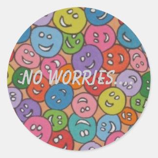 el smiley no hace frente a ninguna preocupación…. pegatina redonda