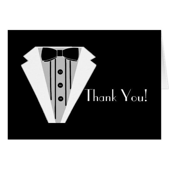 El smoking blanco y negro le agradece tarjeta de felicitación