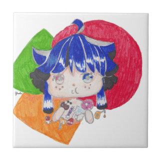 el snacking de la niña azulejo cuadrado pequeño