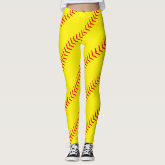El softball amarillo brillante cose las polainas leggings